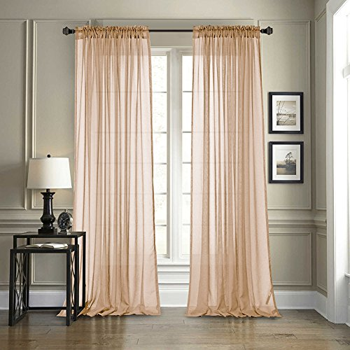 Dreaming Casa Solid Sheer Curtains Draperie Champagne Rod Pocket Two Panels 52
