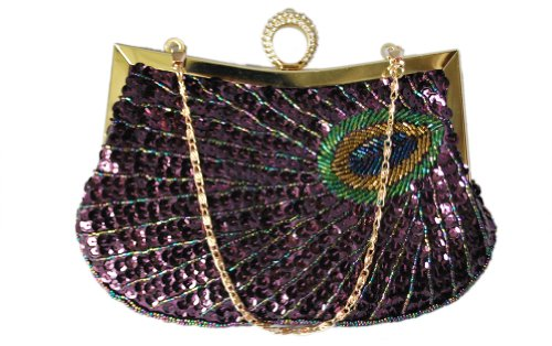 Chicastic Fully Sequined Peacock Motif One Ring Knuckle Duster Style Wedding Evening Cocktail Clutch Bag - Purple