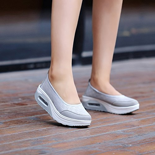 Grey On Sneakers Lightweight Up Walking Fitness Platform Shape EnllerviiD Slip Women Shoes 2963 qxZ7F7