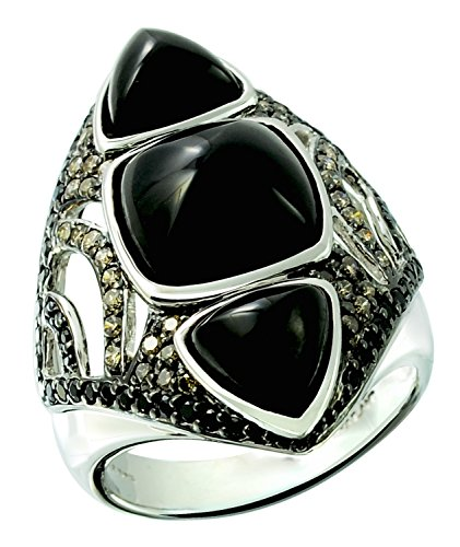 12.30 Carats Onyx with Champagne Diamond Rhodium-plated 925 Sterling Silver Statement Ring (8) (Diamond Star Champagne)
