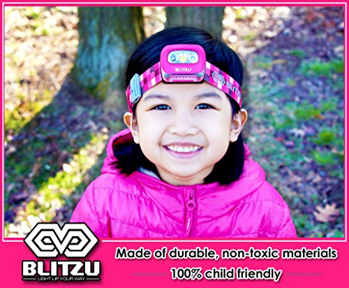 Blitzu i2 Waterproof LED Headlamp with Red Light, Hot Pink