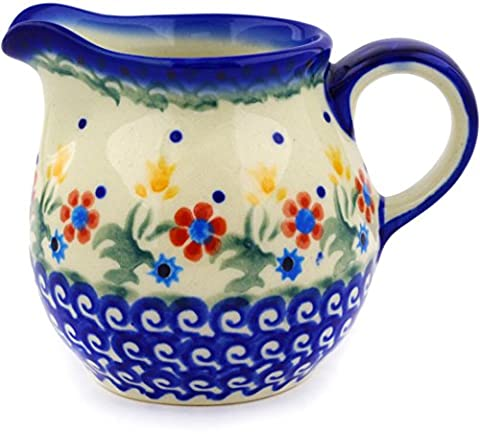 Polish Pottery Creamer 8 oz Spring Flowers - Blue Flowers Creamer