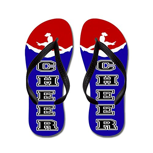 CafePress Cheer Blue and Red - Flip Flops, Funny Thong Sandals, Beach Sandals Black