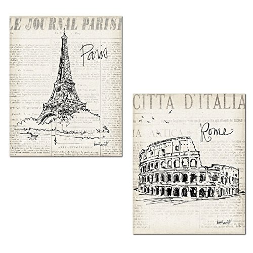 Gango Home Decor Trendy Newspaper-Style Paris and Rome Travel Monument Sketch Set by Anne Tavoletti; Two 11x14in Paper Posters