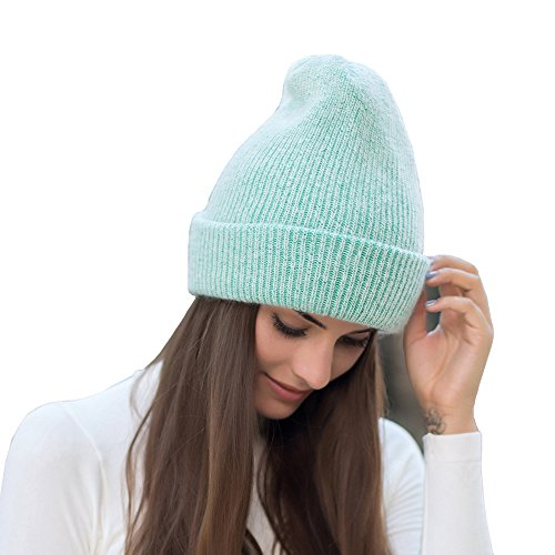 Angora Hat (Farlenoyar Women Girls Winter Warm Hats Angora Rabbit Fur Knit Hats Cashmere Cotton Beanie Hat Cap (Green))