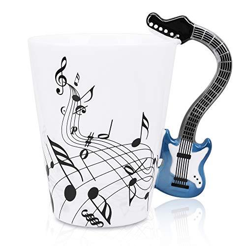 Rock Mug Music - LanHong - 13.5 oz Musical Notes Design Guitar Coffee Mugs Drink Tea Milk Coffee Mug Ceramic Music Cup Gift for Friend (Blue)