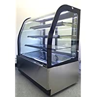 47 Stainless Steel Commercial Curved Glass Front Refrigerated Bakery Deli Cake Countertop Refrigerator Display Case Fridge Showcase, with 2 Doors, LED Lights and Adjustable Shelves