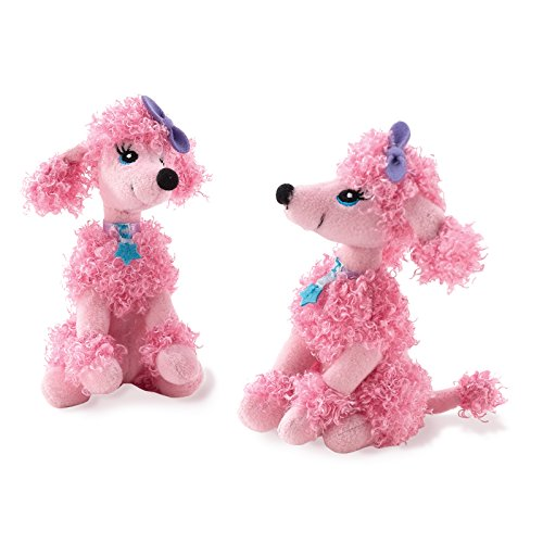 BirthdayExpress Pink Poodle in Paris Damask French Eiffel Tower Childrens Party Supplies Plush Dog Favor Toys - 4 Pack