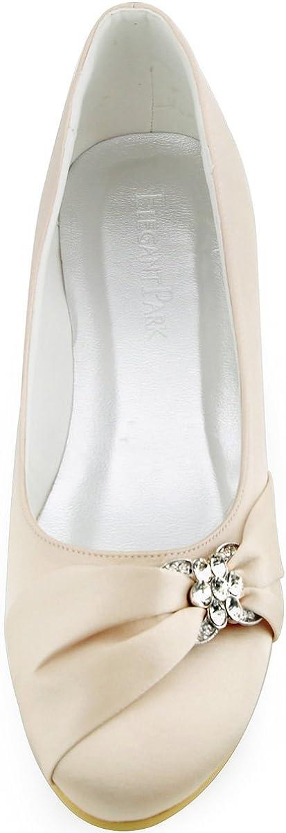 Elegantpark EP2006 Satin Bout Ferme Arc Glitte Plates Femme Chaussures de Mariage