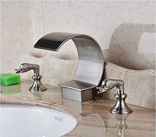 Gowe Nickel Brushed Finished Deck Mounted Bathroom Sink Faucet Two Handles Hot and Cold Water Mixer Tap 0