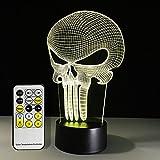 The Punisher Mask lámpara de noche con luz LED 3D para decoración del hogar, para niños y niñas, luz nocturna con control remoto