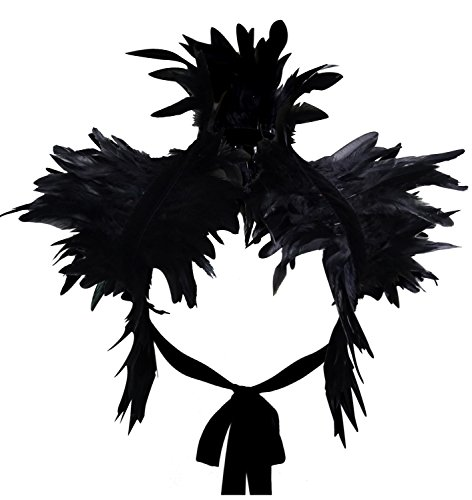 (L'vow Victorian Real Natural Feather Shrug Shawl Shoulder Wrap Cape Gothic Collar (Black) )
