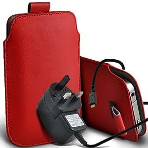 Alcatel One Touch Star 6010d premium protección PU ficha de extracción de deslizamiento del cable En caso de la cubierta y Micro Pouch Pocket Skin USB CE aprobó 3 Pin Cargador Red por Spyrox