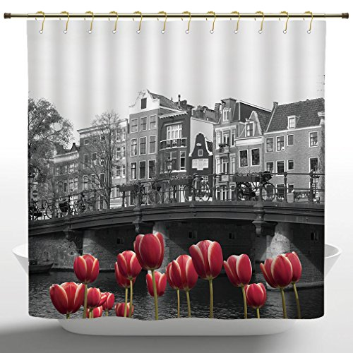 Mildew-proof Shower Curtain by iPrint,Black and White Decorations,Monochrome Photo of Amsterdam Canal with Red Tulips Houses,Black White Red,Decorative Curtain Ideas (72