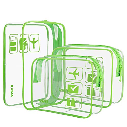 Kit Airport - ANRUI Clear Toiletry Bag TSA Approved Travel Carry On Airport Airline Compliant Bag Quart Sized 3-1-1 Kit Travel Luggage Pouch 3 Pack (Green)
