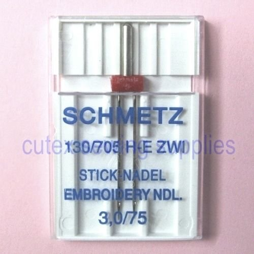 Schmetz 130/705H-E ZWI Embroidery Twin Sewing Machine Needle Size 3.0/75