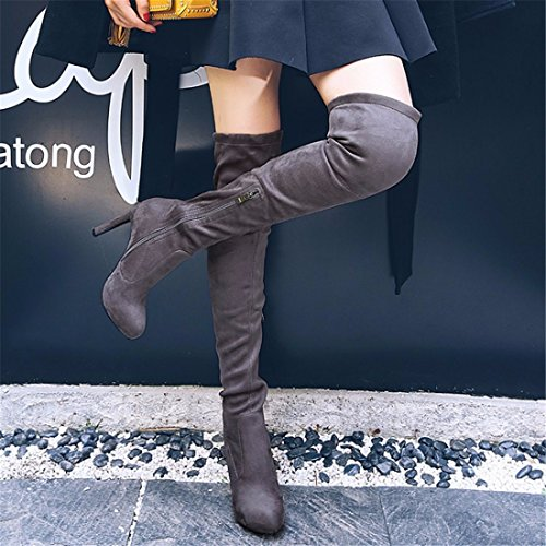 color Europa ocupación los zapatos Unidos han tacón alto BIKER botas botas tacón de canister Estados larga gray de los y pRqnxp7