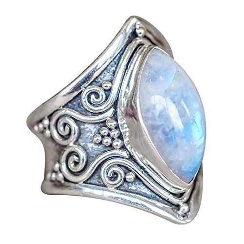 (Simulation Vintage Moonstone Ring,Women Thai Silver Boho Jewelry Natural Gemstone Marquise Personalized Opal Ring)
