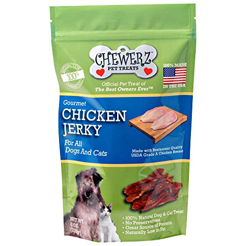 Chewerz CHICKEN JERKY DOG TREATS - Made in USA Only - Best Pet Snacks Since Homemade - Only #1 Ingredient - All Natural Strips of Premium USDA Grade A Chicken Breast (8oz)