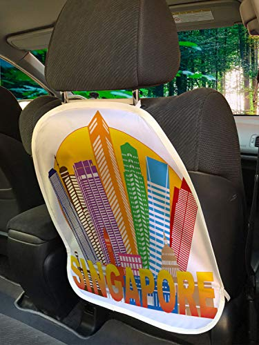 """Ambesonne Singapore Car Seat Protector Set of 2, Colorful Skyline Design with Big Typography Famous Destination Tourist Attraction, Universal Kick Mat for Dirt Mud & Scratches, 18"""" x 24"""", Multicolor"""
