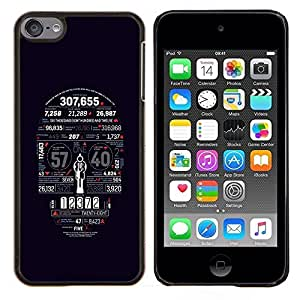 LECELL--Funda protectora / Cubierta / Piel For Apple iPod Touch 6 6th Touch6 -- Muerte Cráneo Estadísticas Tipografía --