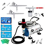 Voilamart Air Brush Dual Action Compressor 1/6hp Needles Hose Paint Kit 3 Airbrush Spray Guns for Make up