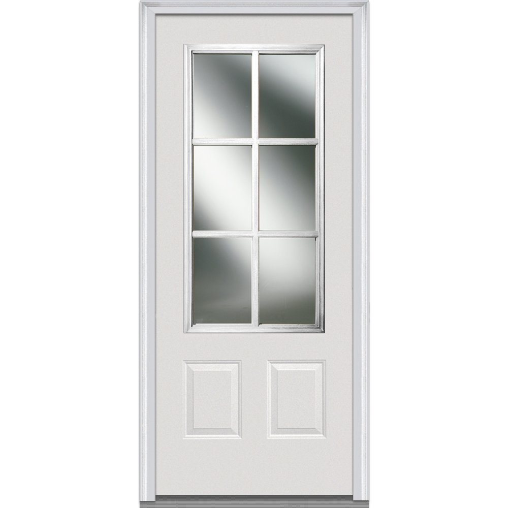 National Door Company Z000848R In-Swing Entry Door, Prehung Right Hand, Classic Clear Glass with SDL, 3/4 Lite, 2-Panel, Steel, 32'' x 80''