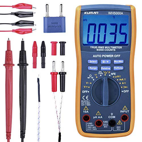 (Digital Multimeter,True RMS 6000 Counts Multimeters Manual and Auto Ranging,Measures Voltage,Current,Resistance,Capacitance,Frequency,Transistor,with 2x Test Lead Set&Alligator Clips Jumper Wire)