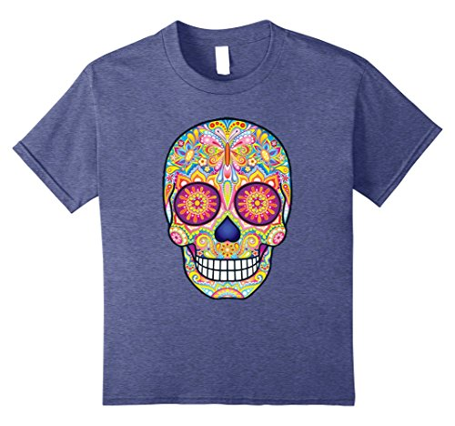 Sugar Skull Costume Male (Kids Flower Sugar Skull Costume Shirt Sugar Skull Costume For Men 10 Heather Blue)