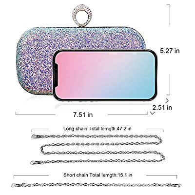 Glitter Evening Handbag, Sparkling Party Clutch, Bling Wedding Purse with Rhinestone Ring, Detachable Thin Chain Strap