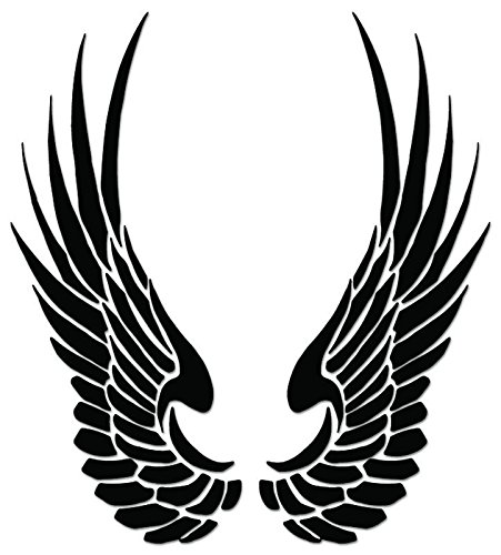 Tribal Art Angel Wings Vinyl Decal Sticker For Vehicle Car Truck Window Bumper Wall Decor - [6 inch/15 cm Tall] - Gloss SILVER Color