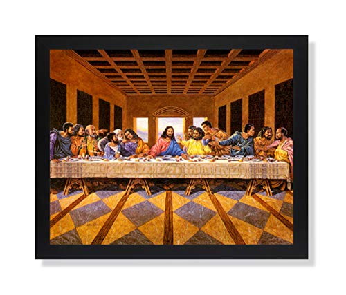 African American Black The Last Supper Jesus Christ Religious Picture Black Framed Art Print