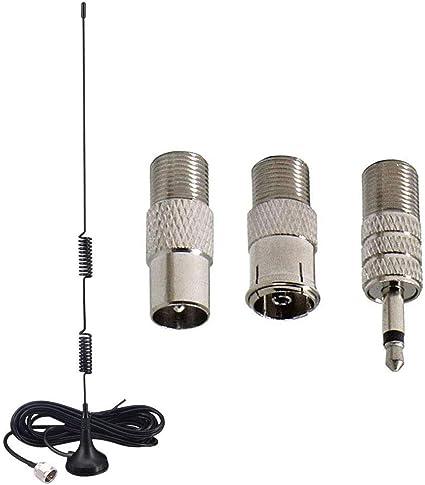 RUNCCI-YUN Antena FM F Adaptador Base Magnética Antena de Radio con 3m 9.84ft Extensión Cable y Conector de TV a F Adaptador de 3,5 mm 3 Kit para el ...