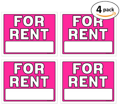 Best-selling For Rent Signs, Inch, Neon Fluorescent Pink, Pack