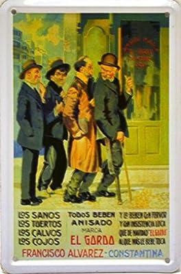 ART ESCUDELLERS Imán Cartel Poster publicitario de Chapa metálica con diseño Retro Vintage de Catalunya/España. Tin Sign. 11 cm x 7,3 cm (Anis EL Gordo): Amazon.es: Hogar