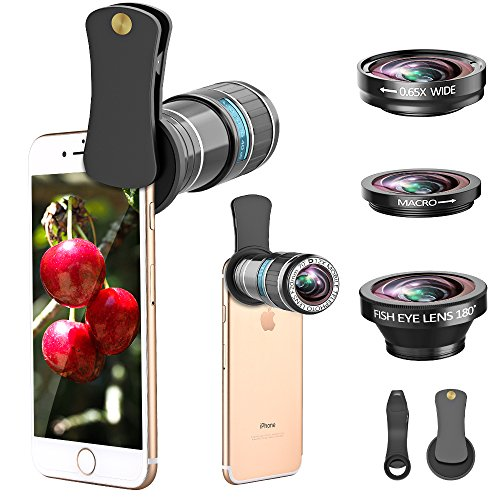 Phone Camera Lens, 4 in 1 12x Telephoto Lens Kit + 0.65x Wide Angle Lens & 15x Macro Lens + 180°Fisheye Lens, Clip-On Cell Phone Lens for iphone x 8 7 plus 6s, Samsung Galaxy Note Smartphones