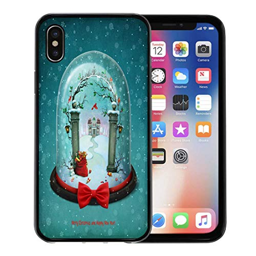 Emvency Phone Case for Apple iPhone Xs Case/iPhone X Case,Winter Red Greeting Snow Globe Christmas Souvenir Ball Berries Soft Rubber Border Decorative, Black ()