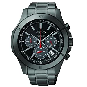 Seiko Black Stainless Steel Chronograph with Date Men's watch #SSB119