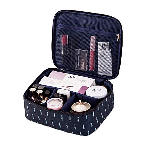Travel Cosmetic Bags for Women - Cute Makeup Bag Portable Travel Makeup Case for Girls, Cosmetics Bag for Makeup Brush Set, TSA Toiletry Bag Lipstick Holder Organizer (FEATHER NAVY B)