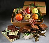 Excelsior Fruit, Chocolate, and Baked Goods Gift by Manhattan Fruitier with 6 Pieces Seasonal Fresh Fruit, 6 Walnut Brownies, and a Chocolate Nut Bar Trio with Milk, Dark, and White Chocolate Bars.