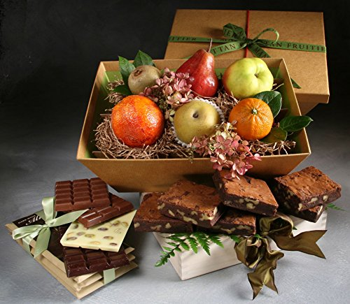 Excelsior Fruit, Chocolate, and Baked Goods Gift by Manhattan Fruitier with 6 Pieces Seasonal Fresh Fruit, 6 Walnut Brownies, and a Chocolate Nut Bar Trio with Milk, Dark, and White Chocolate Bars. by Manhattan Fruitier
