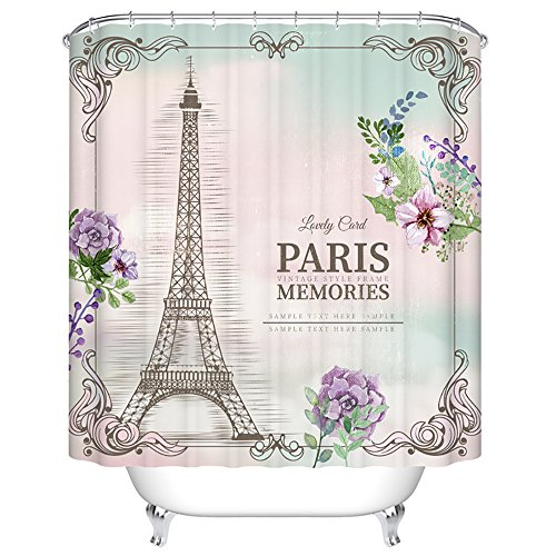 Amazon ChezMax Paris Memories Eiffel Tower Waterproof Bathroom Fabric Shower Curtain With 12 Hooks 72 W X L Home Kitchen