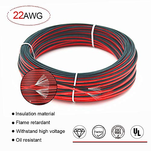 (22 AWG Red/Black Hookup Wire,66ft Stranded wire Flexible PVC Electrical wire 2 conductor wire,Tinned copper Cords is resistant to high temperatures)