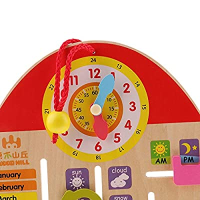 Wooden Calendar Board Teaching Clock Show Calendar Date Season Weather Basic Skill Learning Toy Kids Cognitive Toys: Toys & Games