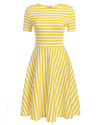 SE MIU Women O-Neck Short Sleeve Striped Summer Casual Flared A-Line - Sale Miu Miu On