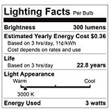 (6 Pack) Homelek 3W LED Light Bulbs, Equivalent to 25W, E26 Base, G45/G14 Bulb, 300 Lumens, Warm White 3000 Kelvin, Best for Bedrooms and Living Rooms