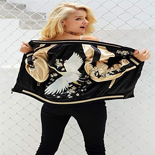 Réversible Baseball Femmes Satin Manteau L Broderie Bombardier Black De Vintage Hpklsder Veste Rue En Automne A7w4pBqx