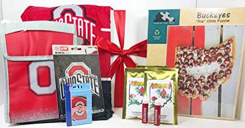(The Ohio State Gift Box Basket - 4 Licensed Items & 1 Puzzle & 2 Premium Coffee - Perfect for Graduates, Alumni, New Students, Holidays, Birthday, Get Well, Congratulations, Thank You, and More!)