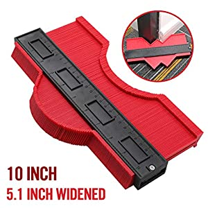 10 Inch Widen Contour Gauge Duplicator, Contour Tool Profile Guide for Woodworking Project Copy Layout Shape and Tracing Pipe Tile Cutting Measuring Tool -Extra Measure Depth (Red)