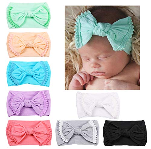 DANMY Baby Girl Nylon Headbands Newborn Infant Toddler Hairbands and Bows Child Hair Accessories (Nylon Bow(8pcs)) ()